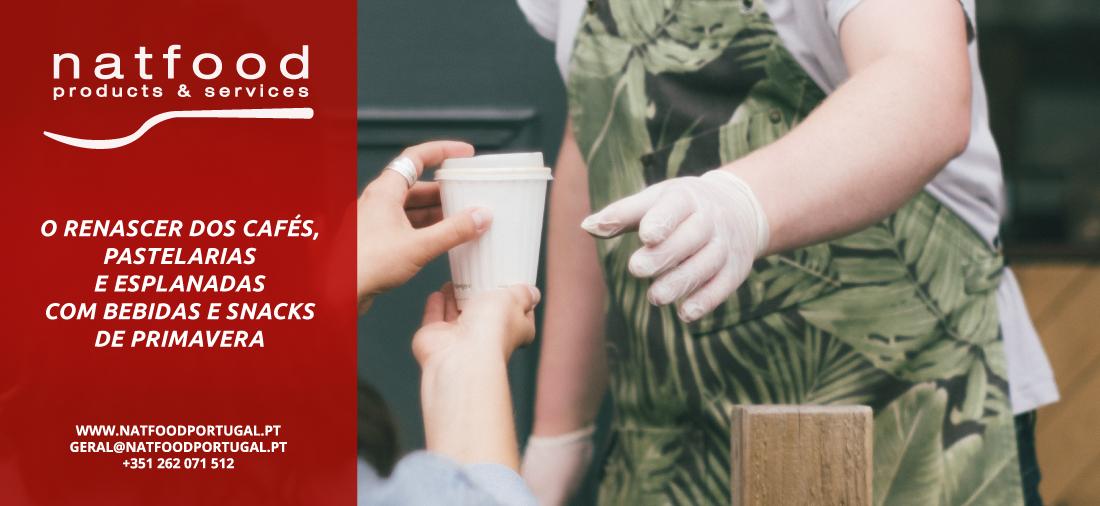 Renascer cafés, pastelarias com bebidas/snacks na primavera